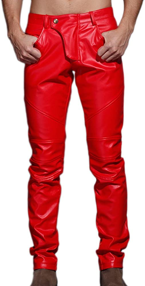 Idopy,pantaloni uomo,in ecopelle Jeans Pants