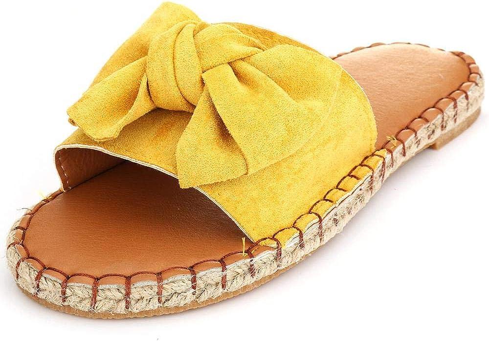 MORER Women's Bow Knot Slide Sandals Open Toe Flat Sandals Slip on Shoes for Summer