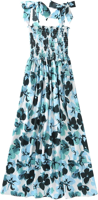 Women's Boho Beach Dress - Floral Butterflies Print Tie Strap Sleeveless A Line Swing Casual Maxi Dress Holiday Sundress