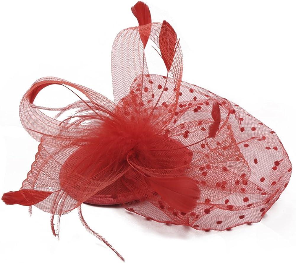 Fankeshi Fascinators Hat Flower Mesh Feathers Cocktail Tea Party Hat Headwear
