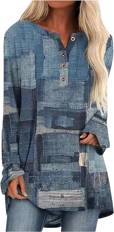 Plus Size Tops for Women Long Sleeve Fall Shirts Fashion Print Tunic Casual Button Pullover Sweatshirts