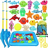 TOY Life Kids Magnetic Fishing Game with Magnetic Fishing Pole, Inflatable Play Area - Fishing Toy for Toddlers, Water Toys for Kids, Pool Fishing Game, Outdoor Fishing Bath Toy for 3 4 5 Toddlers