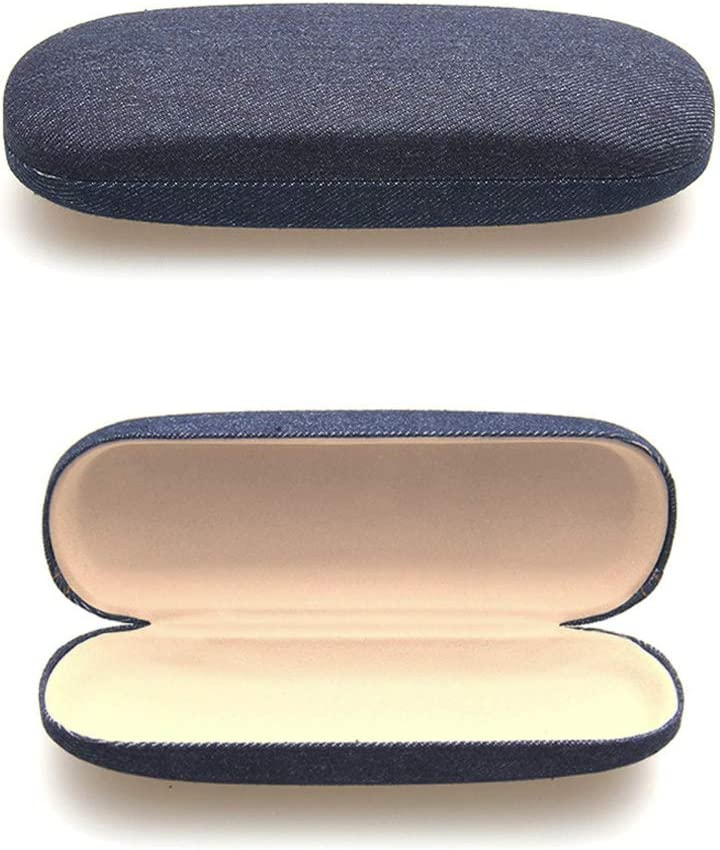 Teensery Classical Denim Fabric Hard Glasses Case Protective Case for Standard Frames Eyeglasses Sunglasses for Men and Women