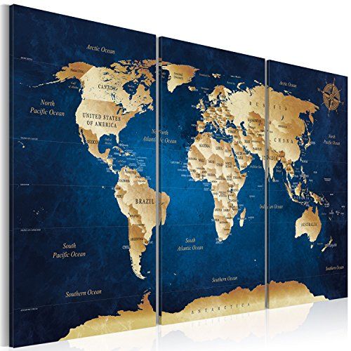 murando Canvas Wall Art 135x90 cm Non-Woven Canvas Prints Image Framed Artwork Painting Picture Photo Home Decoration 3 Pieces World map Card Art Art k-A-0107-b-m