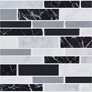 1Set 10pc Self Adhesive Tile 3D Sticker Kitchen Bathroom Wall Sticker Decoration Sequin Mosaic Tile Stickers DIY Waterproof Wall Stickers for Home, Living Room, Bedroom Decor (D)