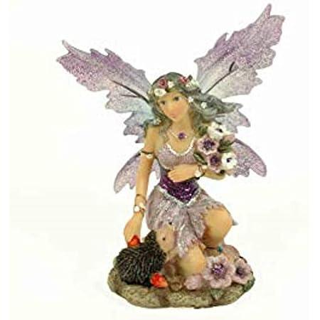 CAPRILO Figura Decorativa Fantasía de Resina Hada Violeta con Erizo. Adornos y Esculturas. Decoración Hogar. Regalos Originales. 10 x 6 x 13 cm. IB 4