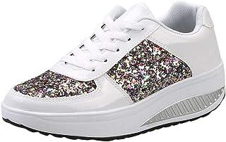 174563cbeb8e17 Femmes Dames Compensées Sneakers Paillettes Shake Chaussures Mode Filles  Chaussures de Sport Semelles compensées Chaussures à