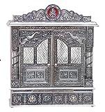 Home Pooja Wooden Mandir with White Oxidized...