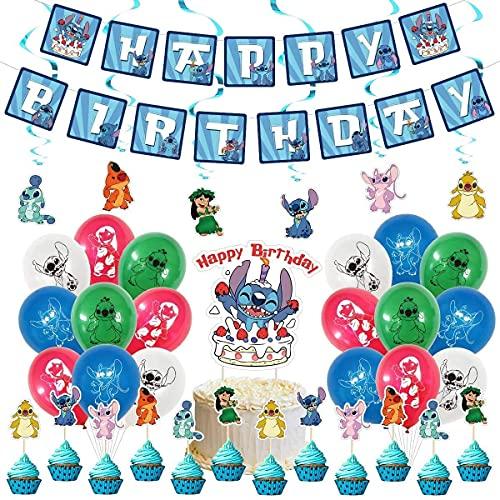 HASAKA 50 piezas utilizadas para decoración de fiesta de cumpleaños Lilo y Stitch, pancarta de cumpleaños, decoración de tartas, espiral, globo, suministros de fiesta temáticos de puntada