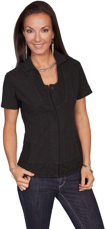 SCULLY Women's 100% Peruvian Cotton Short Sleeve Blouse Black