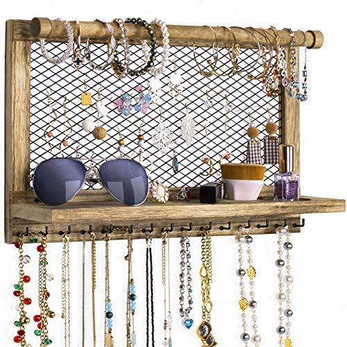 Love-KANKEI Jewelry Organizer Wall Mounted Rustic Wooden Jewelry Holder with Bracelet Rod & 15 Hooks for Earrings Necklace Bracelets Jewelry Display Carbonized Black