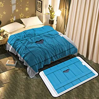 """TableCovers&Home Fleece Blanket Super Soft and Velvet Bathroom Rug Carpet Set Perfect for Layering Any Bed Blanket 70""""x90""""/Mat 39""""x19"""""""