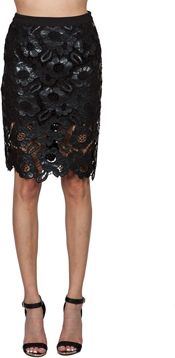 Ark & Co. Laila Leather Lace Pencil Skirt M Black