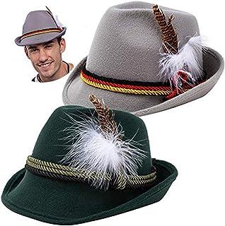 2 German Alpine Hats Costume Accessories Felt Fedora Retro Set for Boys, Kids Halloween Party Favors, Oktoberfest Bavarian Dress Up, Role Play and Cosplay. Green