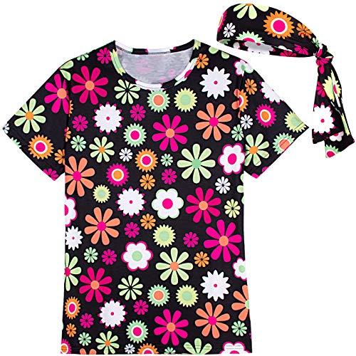 COSAVOROCK Damen 60er 70er Jahre Hippie Flower Power Kostüm T-Shirts mit Stirnbänder Schwarz M