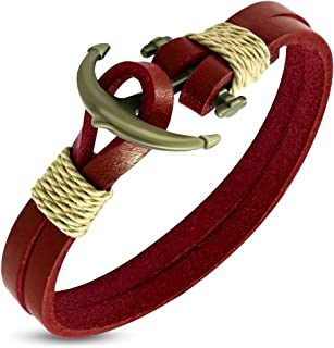 Double Strand Red Leather Marine Anchor Toggle Bracelet Length: 8.4