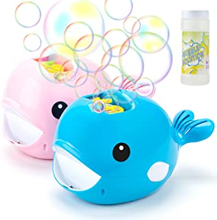 ROTOBAND Bubble Machine for Kids Outdoor and Indoor Parties, Durable and Portable Automatic Bubble Maker 3000+ Bubble Blower with a Bottle of Bubble Solution Easy to Use for Boys Girls - Blue