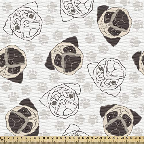 ABAKUHAUS Amante De Los Perros Tela por Metro, Las Huellas Del Barro Amasado Portraits, Decorativa para Tapicería y Textiles del Hogar, 1M (148x100cm), Tan Beige Brown