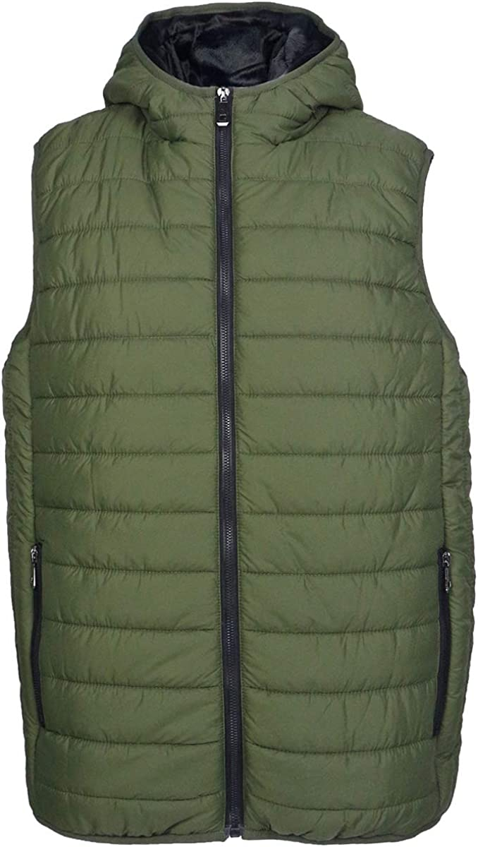 Mens Lightweight Quilted Puffer Vest Winter Water-Resistant Warm Outwear Jacket with Attached Hood