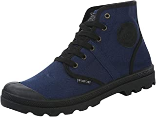 YESWOMAN Men Casual High-Top Lace-Up Canvas Shoes Students Classic Non-Slip Hiking Shoes High-Top Booties