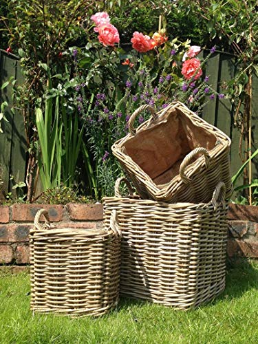 Photo of Very Strong Square Log Baskets/Storage Baskets Set with Removable Liners – Set of 3 – Small, Medium & Large