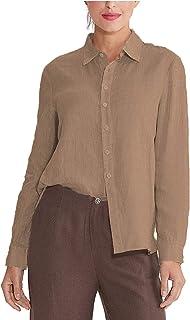 Amazhiyu Womens 100% Linen Button Down Collar Shirt Casual Basic Roll-up Sleeves Blouse Loose Tops Summer