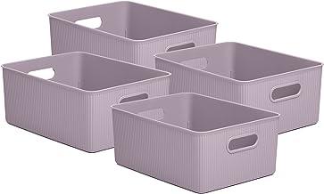 Superio Ribbed Plastic Storage Basket Organizer- 4 Pack,- Stackable Closet Storage Bin for Shelf, Desk, Pantry- Store Toy...