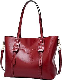 Santimon Leder Handtasche Damen Tasche Umhängetasche Büro Vintage Schule Travel Crossbody Damentasche