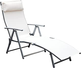 Outsunny Steel Sling Fabric Outdoor Folding Chaise Lounge Chair Recliner – Cream White