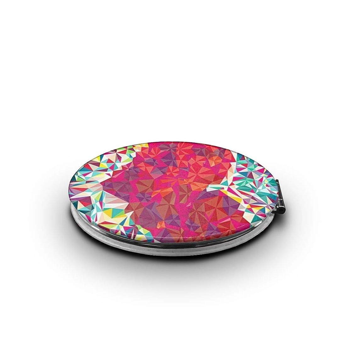 手書き占める威するミラー 化粧鏡 カラフルな心 コンパクトミラー 軽量 丸型 折りたたみ鏡