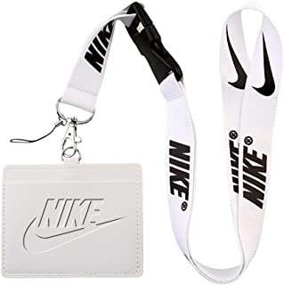 Nike White Faux Leather Business ID Badge Card Holder with Keychain Lanyard