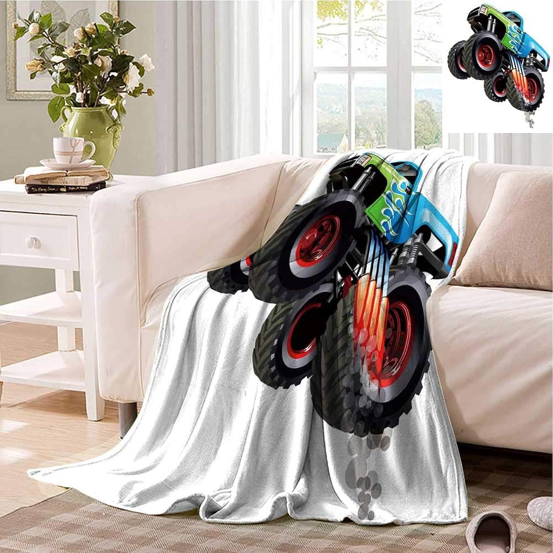 Boys Printed Microfiber Blanket Cartoon Monster Speeding Truck Picture Lightweight Warm Flannel Blanket for Bed Sofa 70 x60  Multicolor