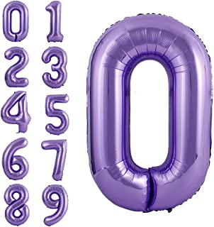 40 Inch Large Purple Balloon Number 0 Balloon Helium Foil Mylar Balloons Party Festival Decorations Birthday Anniversary Party Supplies