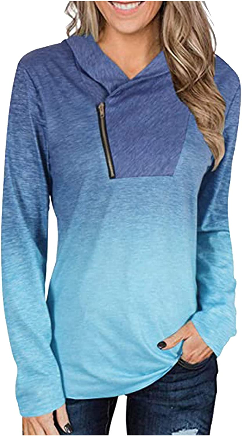 BEUU Women's Lightweight Sweatshirts Cowl Neck Workout Running Tunic Shirts with Pocket Casual High Neck Solid Hoodie