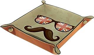 Vockgeng Lunettes Moustache Boîte de Rangement Panier Organisateur de Bureau Plateau décoratif approprié pour Bureau à Dom...