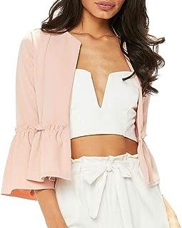 Janisramone Womens Ladies New Ruffle Frill Bell Sleeve Plain Peplum Blazer Office Jacket Crop Open Front Coat
