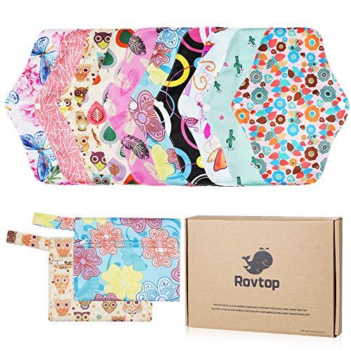 Rovtop 10PCS 25.4 cm Reutilizables de Carbón de Bambú - Almohadilla Menstrual Reutilizable Compresa de Tela + 2 Bolsa de Transporte Mini (Caja de Regalo Ambiental)