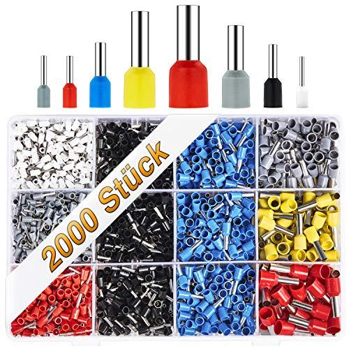 BAURIX ® 2000 Stück Aderendhülsen Sortiment I Isolierte Hülsen nach DIN sortiert I 0,5 mm² - 10 mm² I Profi Isolierhülsen Set (B - 2000 Stück)