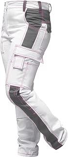 Elasticos Pantalones de Trabajo para Mujer Blanco. Pantalón de Pintor Completo con Bolsillos para Rodilleras. Cremallera YKK + botón YKK - Hecho en la UE