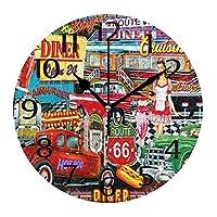 10インチの丸い壁時計、壁の装飾レトロな車の修理店サイレント非カチカチ時計、リビングルームのホームオフィスColor3用のバッテリー操作の読みやすい時計
