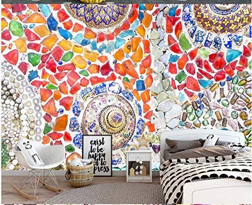 Papel Tapiz Mural 3D Pared Del Fondo De La Sala De Estar Del Azulejo De Mosaico Del Jade Bohemio Del Estilo Europeo-400Cmx280Cm