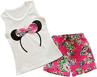 Toddler Baby Girl Summer Clothes Kids Sleeveless T-Shirt Top+Floral Shorts Patns Outfits