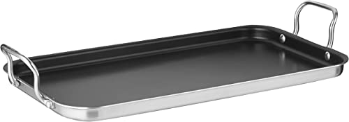 """new arrival Cuisinart Double Burner 2021 Griddle, 10"""" x lowest 18"""", Stainless Steel outlet sale"""