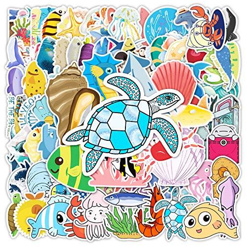 AXHZL Etiqueta engomada Decorativa de la Historieta Marina Bio Etiqueta engomada del Coche de la Locomotora de la Vespa de la Tableta 100pcs