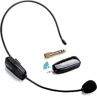 2.4G Micrófono Inalámbrico, Jelly Comb Transmisión Inalámbrica Estable 30m, Micrófono Altavoz Auricular y de Mano 2 En 1 para Amplificador de Voz, Ordenador, Mesa de Mezclas de Audio, Altavoces,Negro