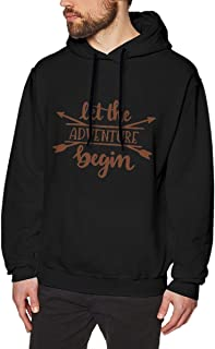 Nutmix Men's Let New Adventure Begin Casual Long Sleeve Pullover Hoodies - Available Up to Size 3XL M Black