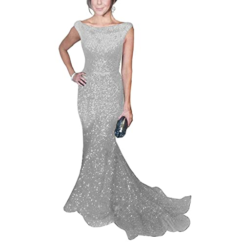 e25d9b78b5 SOLOVEDRESS Women's Mermaid Sequined Formal Evening Dress for Wedding Prom  Gown
