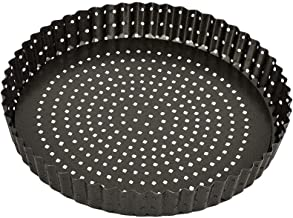 Bakemaster Quiche Pan Non-Stick Perfect Crust Loose Base Quiche Pan, Grey, 40103
