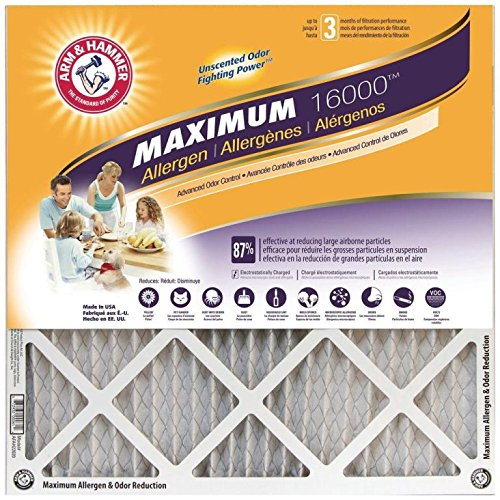 Arm & Hammer Max Allergen & Odor Reduction 14x25x1 Air and Furnace Filter, MERV 11, 4-Pack