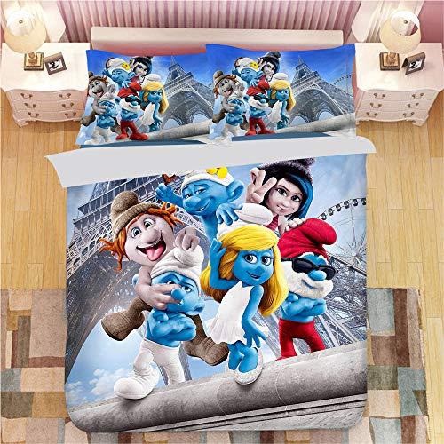 SK-LBB - Juego de cama de 3 piezas, diseño de dibujos animados en 3D, diseño de pitufos, funda de edredón y funda de almohada (02, doble 200 x 200 cm)